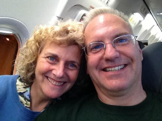 Ted & Jody on the airplane flying to Boston