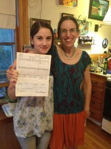 Catalina's first-ever paycheck!